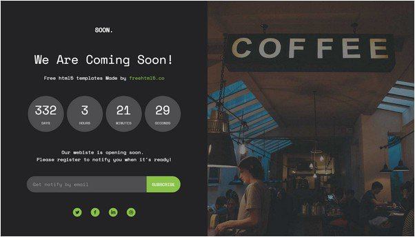 HTML5 Bootstrap Coming Soon Template