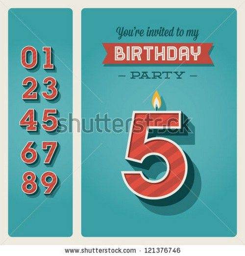 Happy birthday card invitation with candle number editable