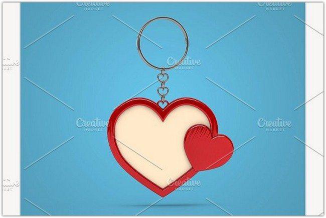Heart shape keychain Mockups