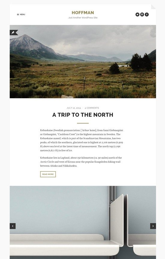 Hoffman WordPress theme for bloggers