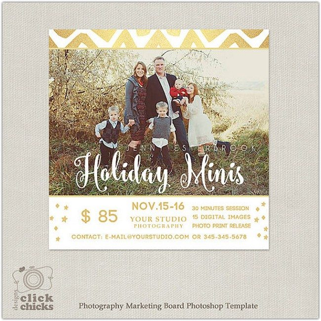 Holiday Mini Session Template - Photography Marketing Board