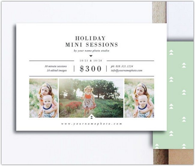 Holiday Mini Session Templates for Photographers - 5x7 Photography Flyer