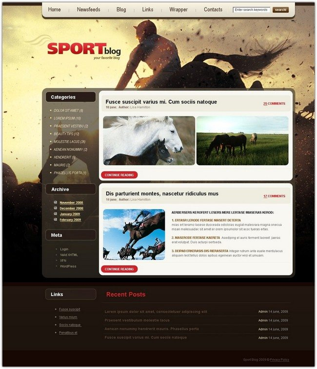 Horse Racing PSD Template