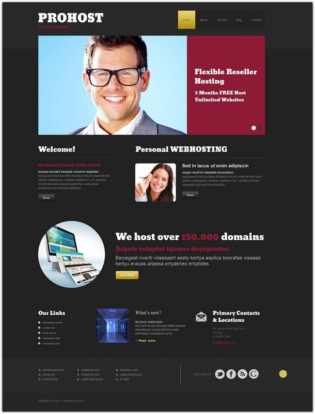 Hosting Responsive WordPress Theme templatemonster