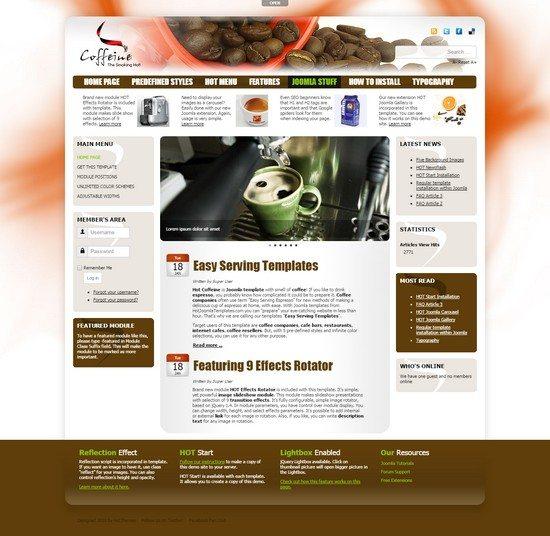 Hot Coffeine - Joomla Cafe Template