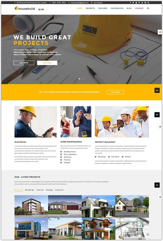 Housebuild - Joomla Construction Business Theme