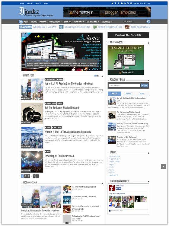 Ijonkz - Responsive Magazine News Blogger Template