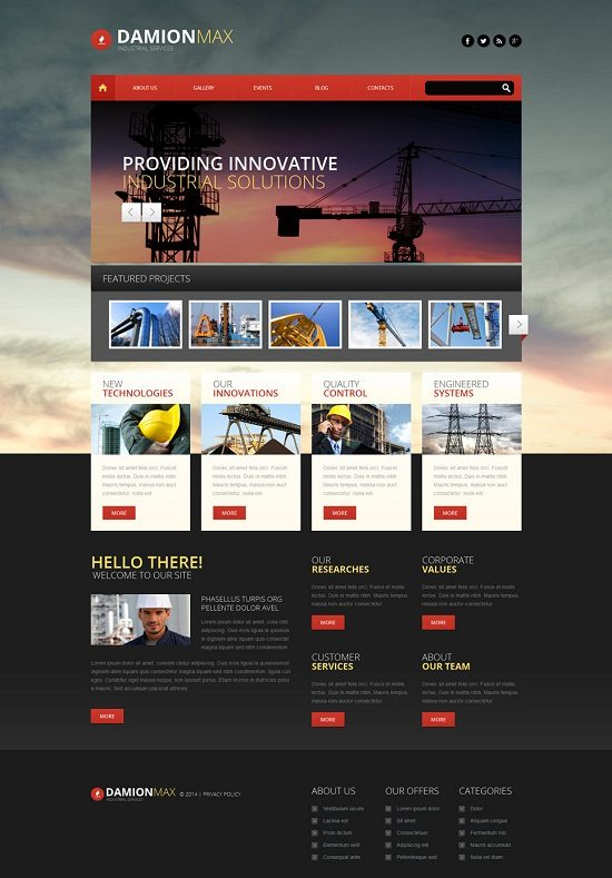 Industrial Responsive WordPress Theme monster
