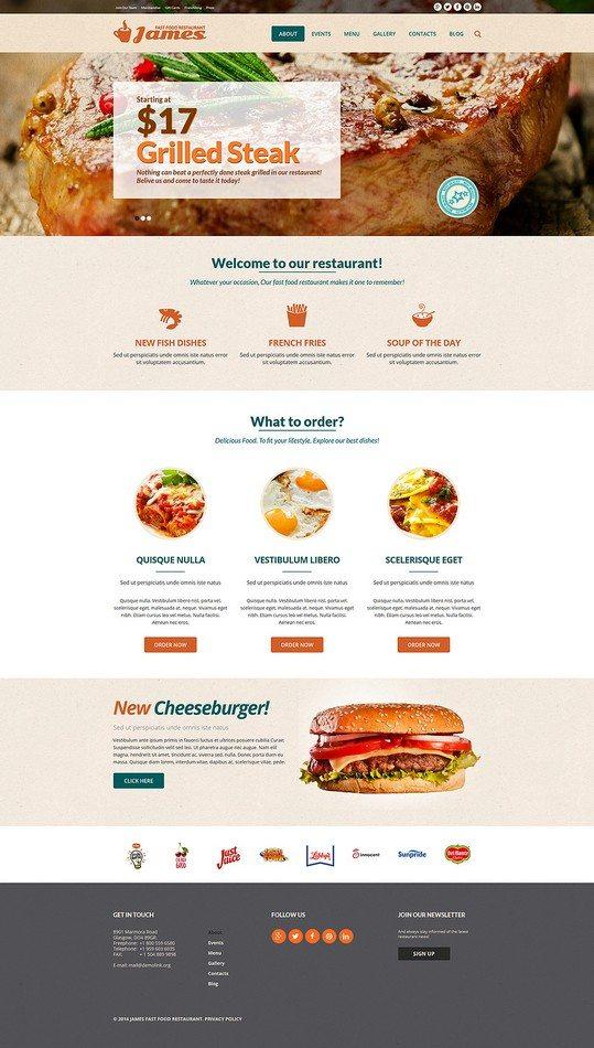 James Fast Food Restaurant Joomla Template