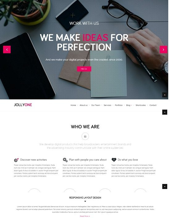 Jollyone - Creative One Page HTML5 Website Template