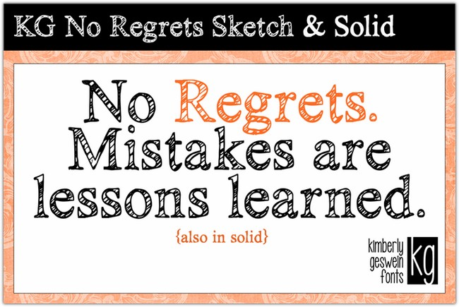 KG No Regrets font by Kimberly Geswein