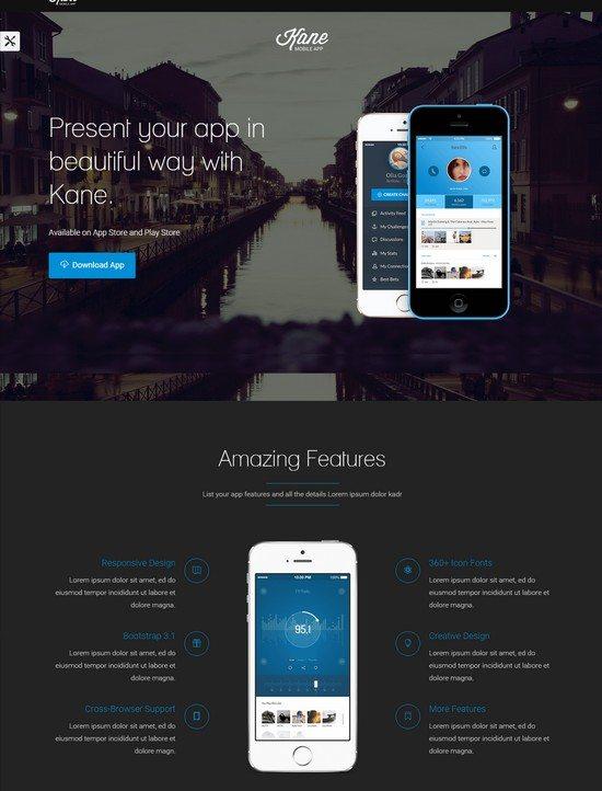 Kane - Responsive Bootstrap 3 App Landing Page