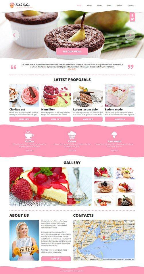 Kates Cakes Cafe Responsive Joomla Template