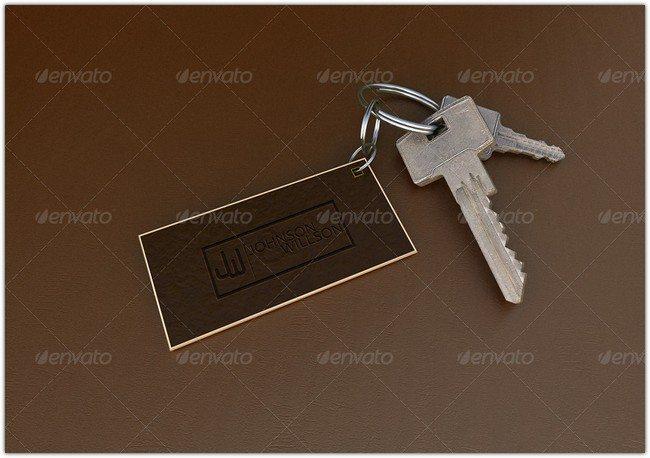 realistic Key Chain mockup