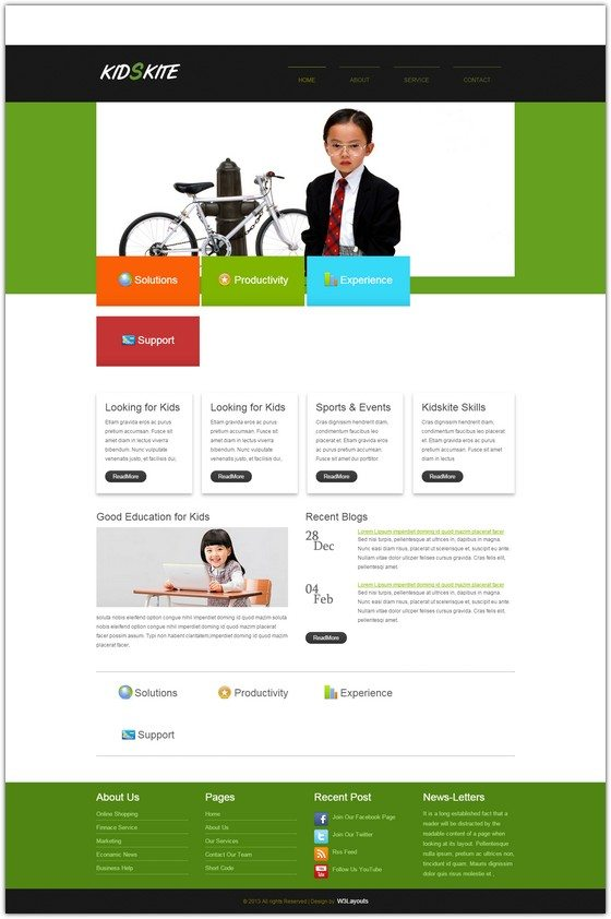 Kids Kite web and mobile template