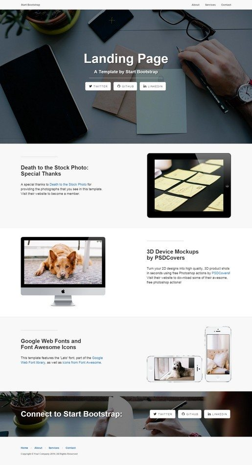 Landing Page A simple, elegant, and beautifully responsive landing page theme