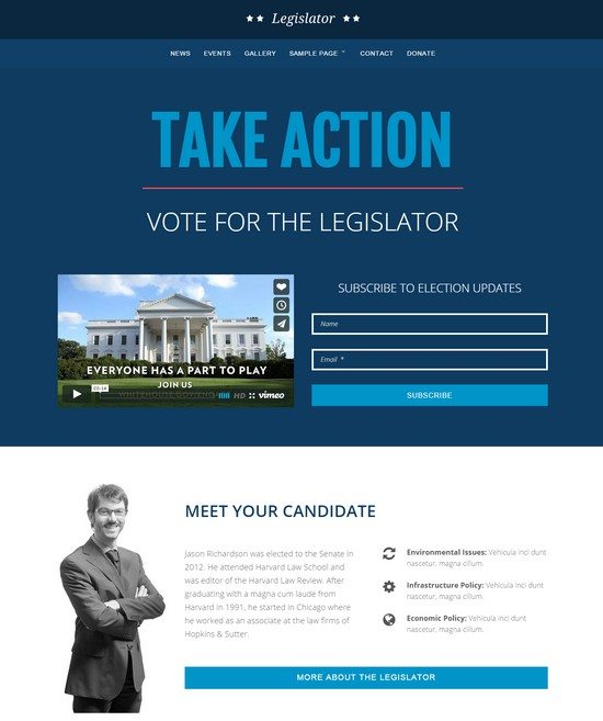 Legislator Political WordPress Campaign