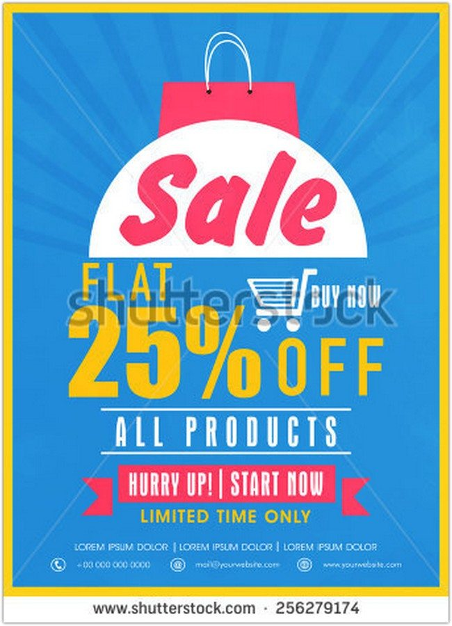 Limited time sale with flat discount on all products flyer