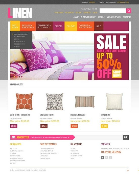 Linen for Your Home Magento Theme