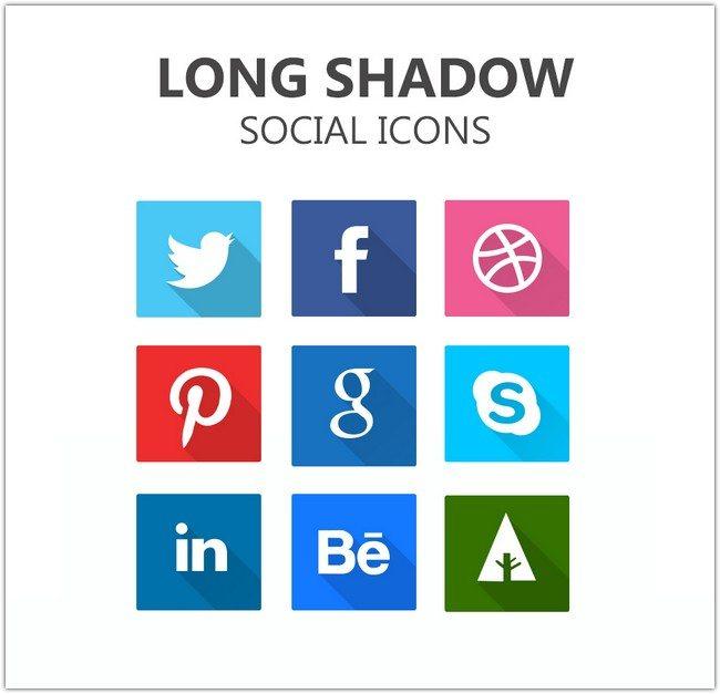 Long Shadow Social Icons PSD