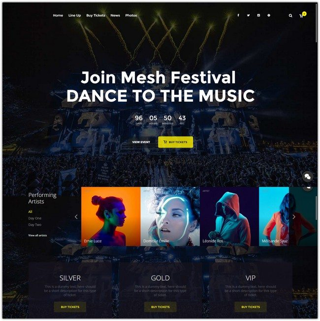 MESH Music, Events, Clubs Theme