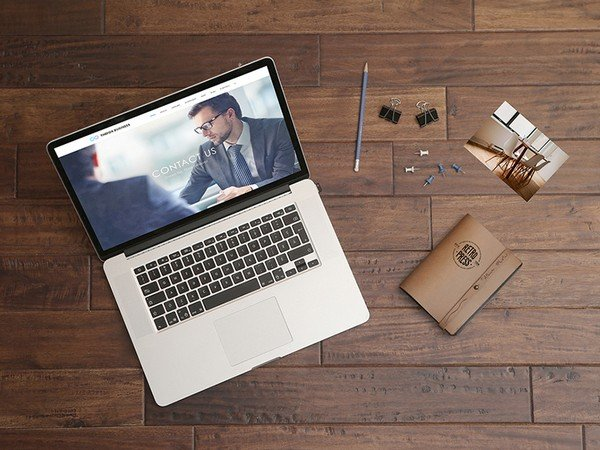 Macbook Pro Mockup on Wooden Table