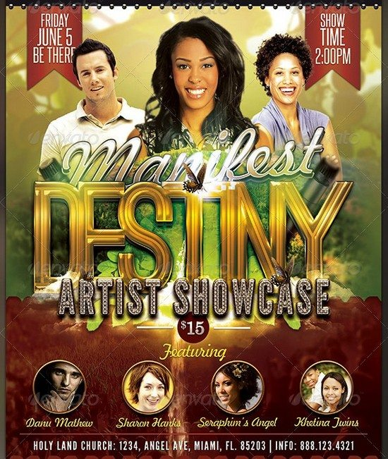 Manifest Destiny Church Concert Flyer Template