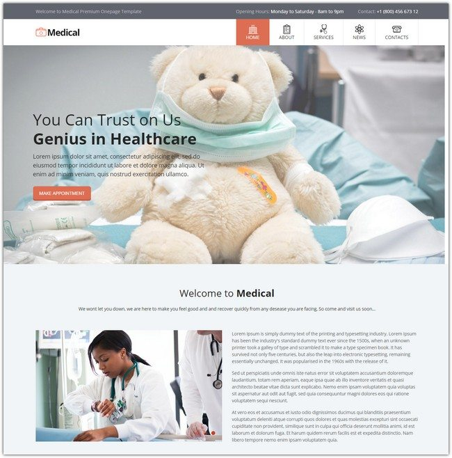Medical Center One Page Template