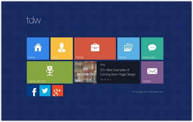 Metro UI Style Web Design PSD Template
