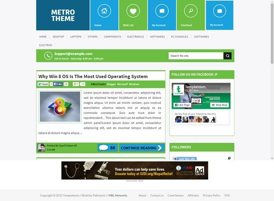 Metro Windows 8 Style Blogger Template