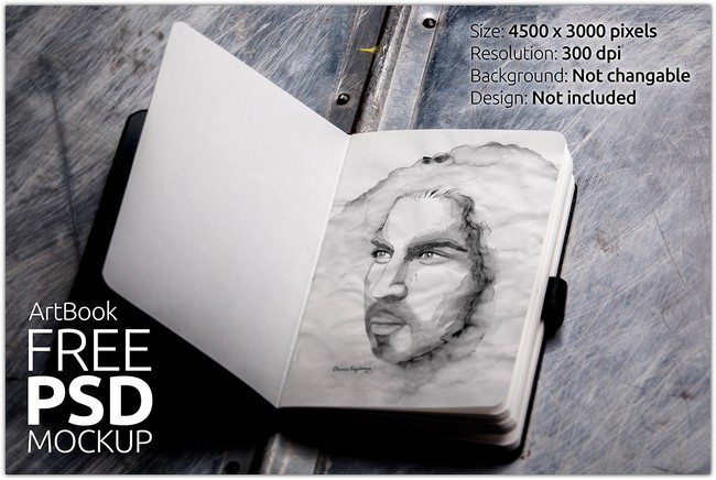 Mock Up FREE Scketch book Photorealistic 01