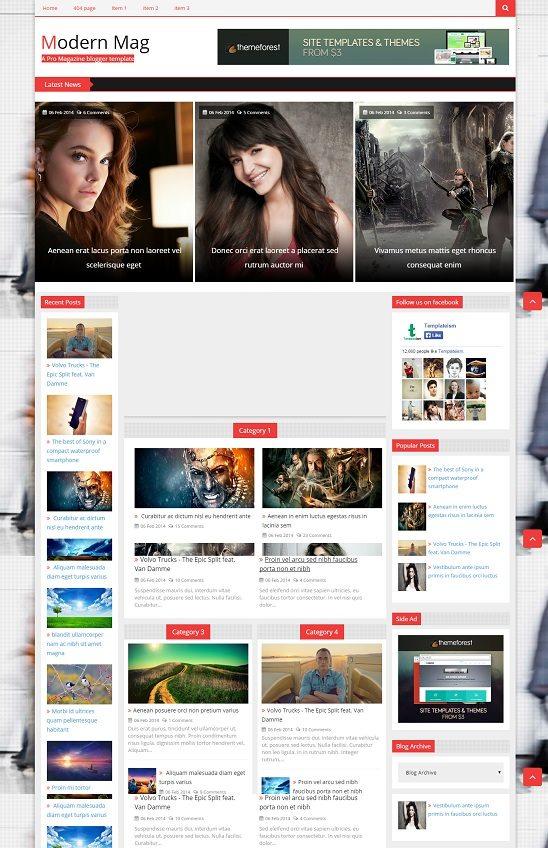 Modern Mag A Pro Magazine blogger template