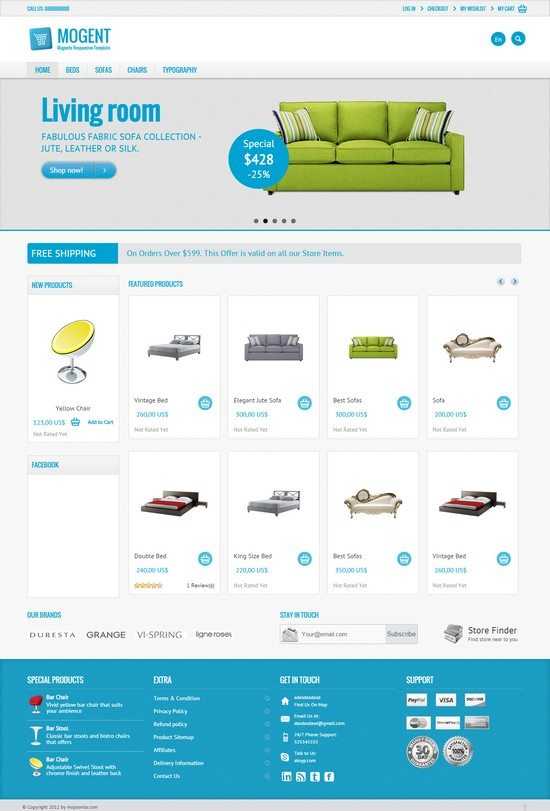 Mogent Mobile ready Magento template