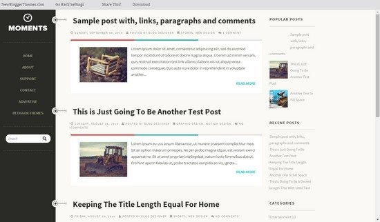 Moments Blogger Template