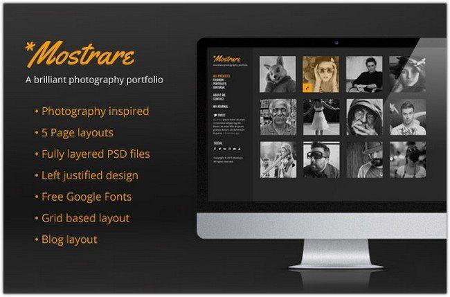 Mostrare – A Free Photography Portfolio PSD Template