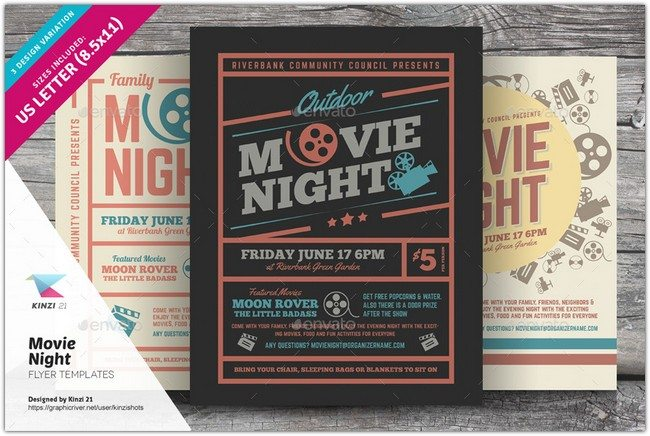 Movie Night Flyer Templates
