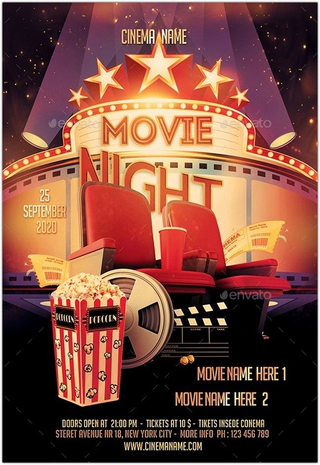 Movie Night Flyer+Ticket