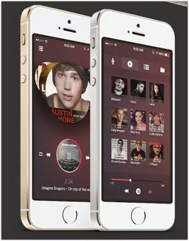Music app ios7 Free UI psd