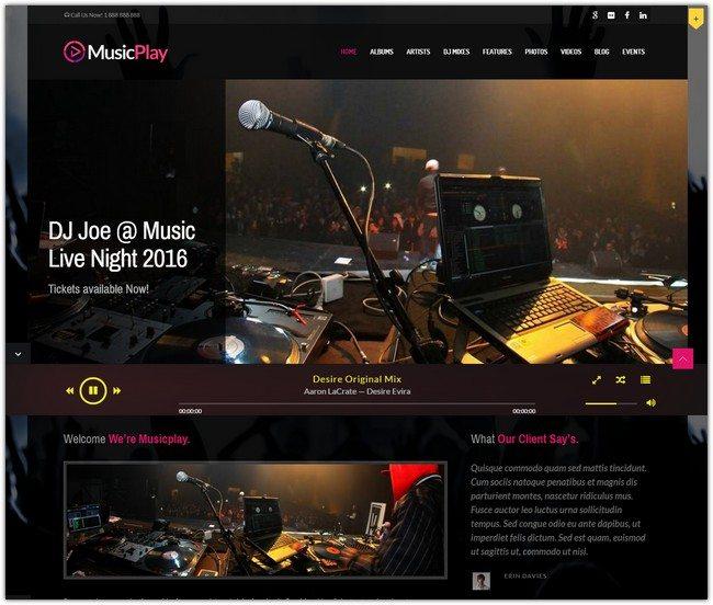 MusicPlay - Music & DJ Responsive WordPress Theme