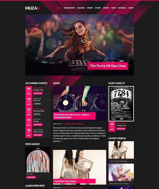 Muzak – Music Premium WordPress theme