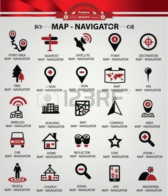 Navigator icons,Red version,vector