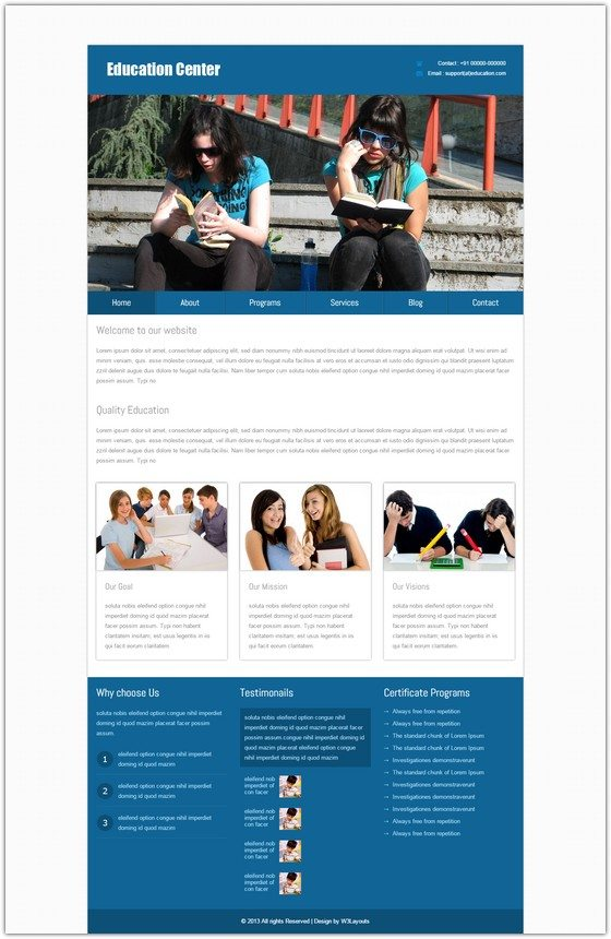 New Education Center web template