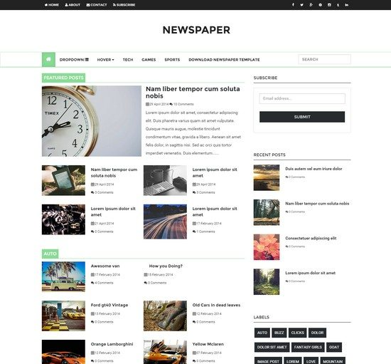 Newspaper - Responsive Blogger Template