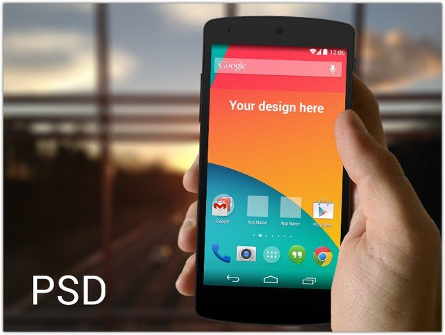 Nexus 5 in hand template PSD
