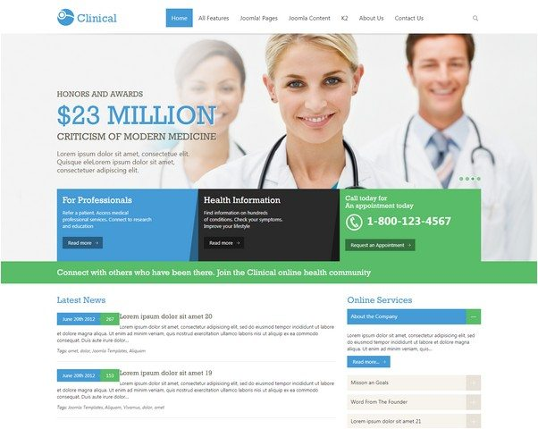 OT Clinical - Medical & Health Joomla Responsive Template