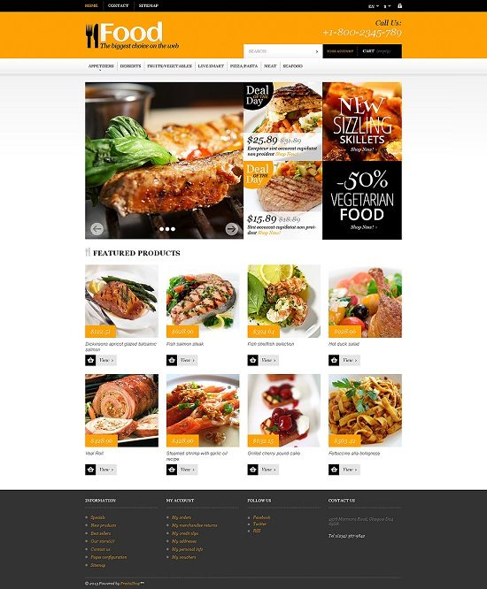 Online Orders of Meals PrestaShop Theme