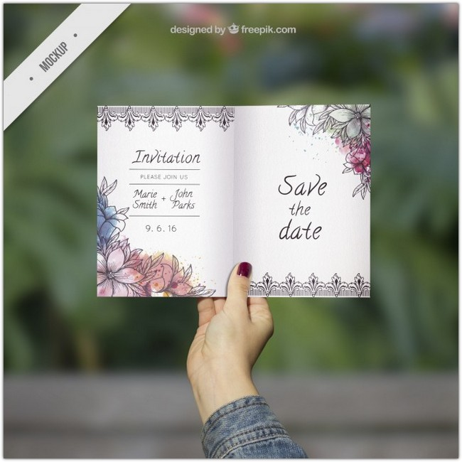 Ornamental wedding invitation mockup with watercolor flowers Free Psd
