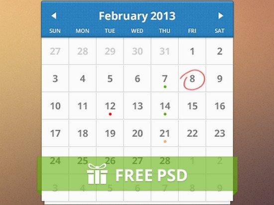 PSD Free Calendar
