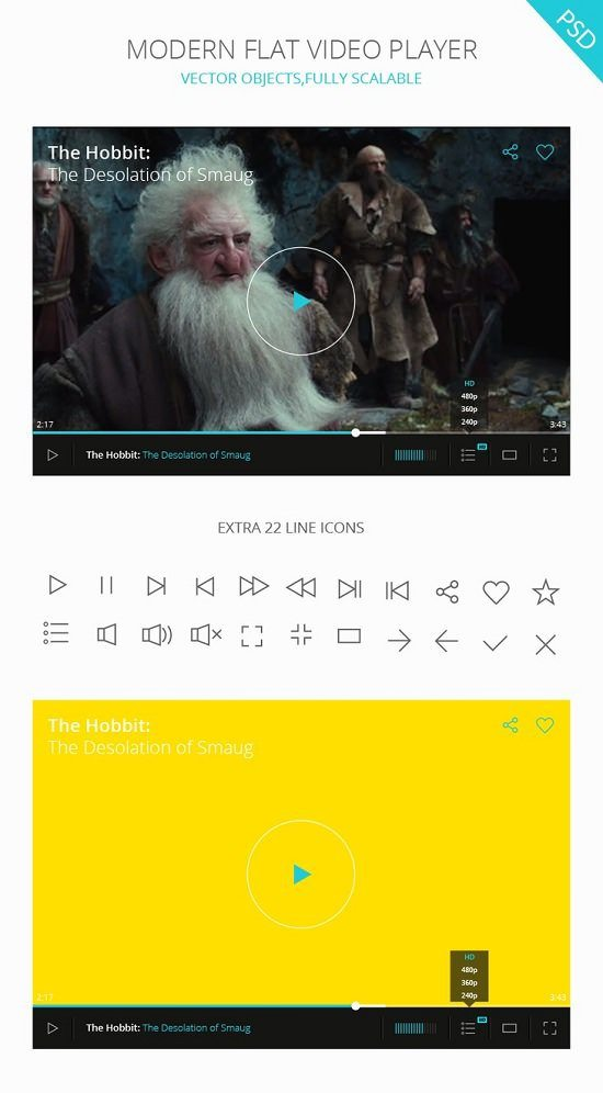 PSD Video Player UI