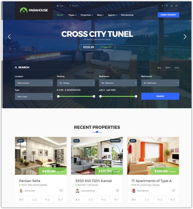 Parahouse - Modern Real Estate WordPress Theme
